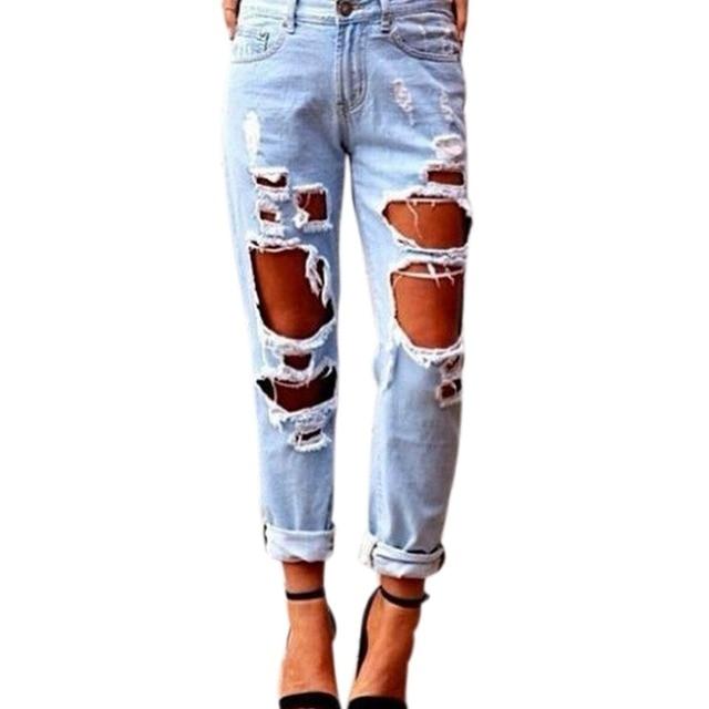 7f3515d82d Pantalones de mezclilla de moda mujer Sexy pantalones pantalones Punk flaco  viento grande del agujero Jeans
