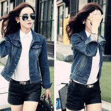Denim Jacket Women 2017 Bomber Jacket Long Sleeve Embroidered Button Up Washed Jeans Jackets Coat with