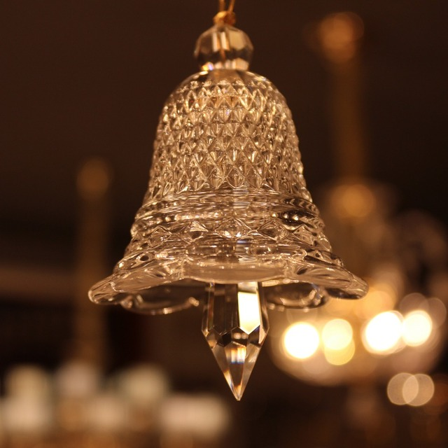 Sol Glass Small Clear Christmas Bell Crystal Hanging Drop Baccarat Style Chandelier Curtains