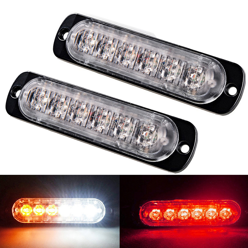 2pcs 3W 12V 24V 12V Led Strobe Emergency Warning Light Amber Red Police Flashing Lightbar Grille Truck barra led bar car Lamps high intensity 120cm dc12v 88w led emergency lightbar police ambulance fire strobe warning lightbar 18flash aluminum casing