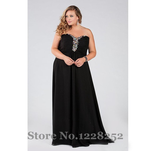 Custom Made Plus Size Evening Dresses Black Chiffon Beaded A line ...