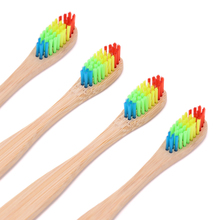 1 PC Colorful Head Bamboo Toothbrush Environment Wooden Rainbow Bamboo Toothbrush Oral Care Soft Bristle Head Toothbrush