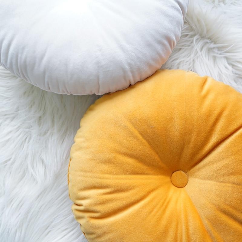 CANIRICA Round Pillow Velvet Seat Chair Cushion Tatami Decorative Pillows For Living Room Sofa Pumpkin Cojines Decorativos Gift