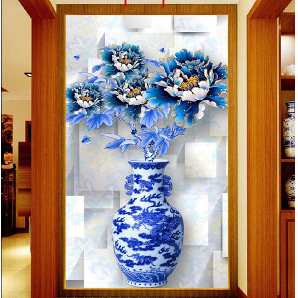 blue peony vase jardiniere murals photo wallpaper for