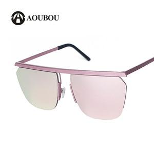 AOUBOU Brand Designer Oversized Square Red Sunglasses Women Alloy Blue Glass Lens Sun Glasses For Lady Lunette De Soleil 7107