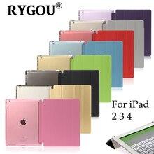 RYGOU Para Apple iPad 2/3/4 Caso de Cuero de LA PU, Ultra Delgada Estela Del Sueño Magnético Up Cubierta Elegante Con el Soporte Caja Trasera para el ipad 4 3 2