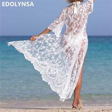 Sexy Transparent Long Lace Beach Tunic Kimono Cardigan Half Sleeve  Embroidery Shirt Women Top Blouse Robe Sarong De Plage N623 069ada54b29e