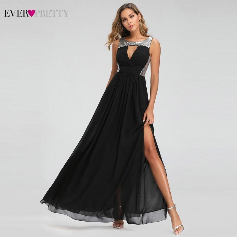 Image 4 - Sexy Prom Dresses Ever Pretty O Neck A Line Sleeveless Black Side Split Party Gowns Elegant Long Formal Dresses Gala Jurken 2019-in Prom Dresses from Weddings & Events