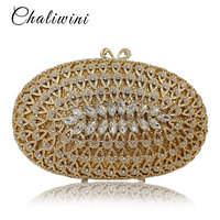 Wholesale Dazzling Gold Hollow Out Crystal Women Evening Bags Diamond Beaded Wedding Clutch Package Bridal Minaudiere Purse