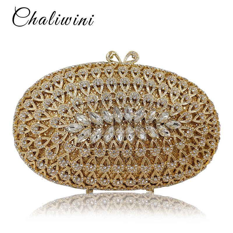 Wholesale Dazzling Gold Hollow Out Crystal Women Evening Bags Diamond Beaded Wedding Clutch Package Bridal Minaudiere Purse double flower hollow out sparkling dazzling crystal women gold evening clutch bags wedding party bridal diamond handbag purse