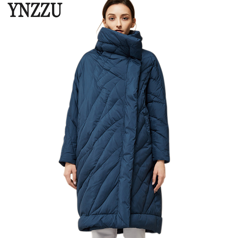 YNZZU Winter Womens   Down   Jacket Fashion Loose 90% White Duck   Down     Coats   Large Size Oversized Female Jacket High Quality YO373