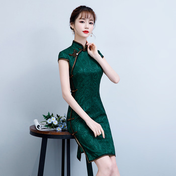 Sexy verano corto Cheongsam 2019 Vintage estilo chino Mini Vestido moda mujer encaje Qipao ajustado vestidos de fiesta Vestido de botón