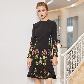 Dress Women 2019 Spring Vintage Embroidery Elegant Round neck Long sleeve Fashion Patchwork Slim Mermaid Dress
