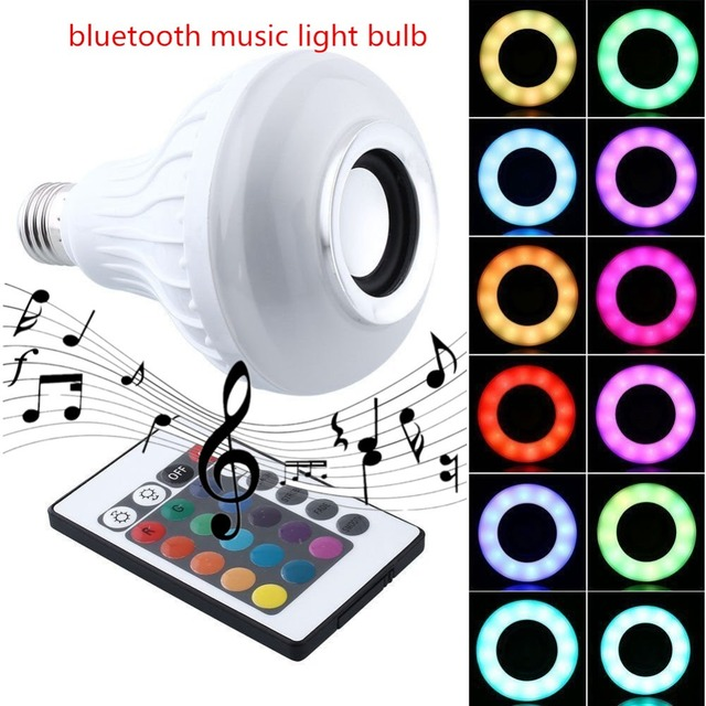 2X12W Bluetooth Music Bulb E27 LED Light  Music Playing RGB Change Light with 24key Remote Control Wireless Stereo Audio Speaker
