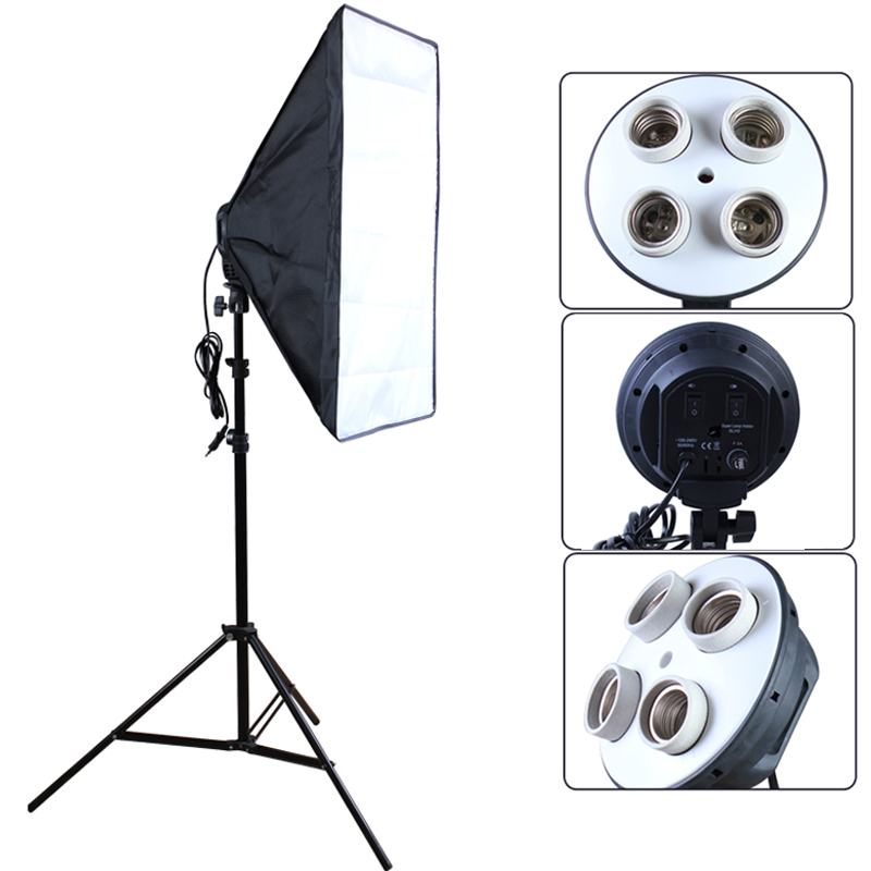 Fotostudio 50 * 70cm Softbox 100-240V Lighting Box E27 4-lamphållare Soft Box med 2m Light Stand Photo Kit
