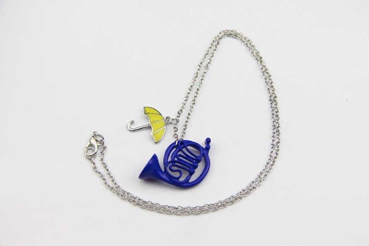Fashion Bagaimana Aku Bertemu Ibumu Blue Bahasa Perancis Tanduk Liontin Kalung dengan Rantai Perak TV Perhiasan untuk Pria dan Wanita hadiah