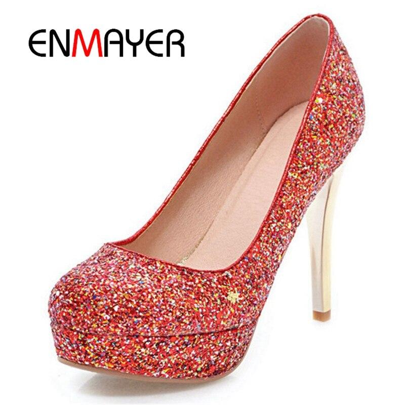 Bolso Mujeres Gold Bombas Calidad Nueva Zapatos De Tacón Grueso 2018 red  Tacones Alta Enmayer Mujer ... 827d8fd67904