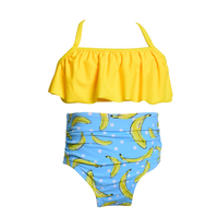 New High Waist Dzieci Plaża Strój Kąpielowy Bikini W Stylu Vintage Bandaż Bikini Stroje Kąpielowe Dla Dzieci Dziecko Piękne Dziewczyny Swimsuit