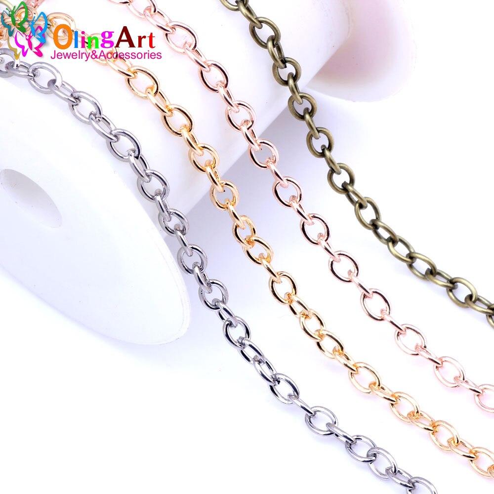 OlingArt 3 м/лот 6 мм позолоченные/золотистые/Серебристые/бронзовые овальные цепи с перекрестными звеньями, изготовление ювелирных изделий свои...