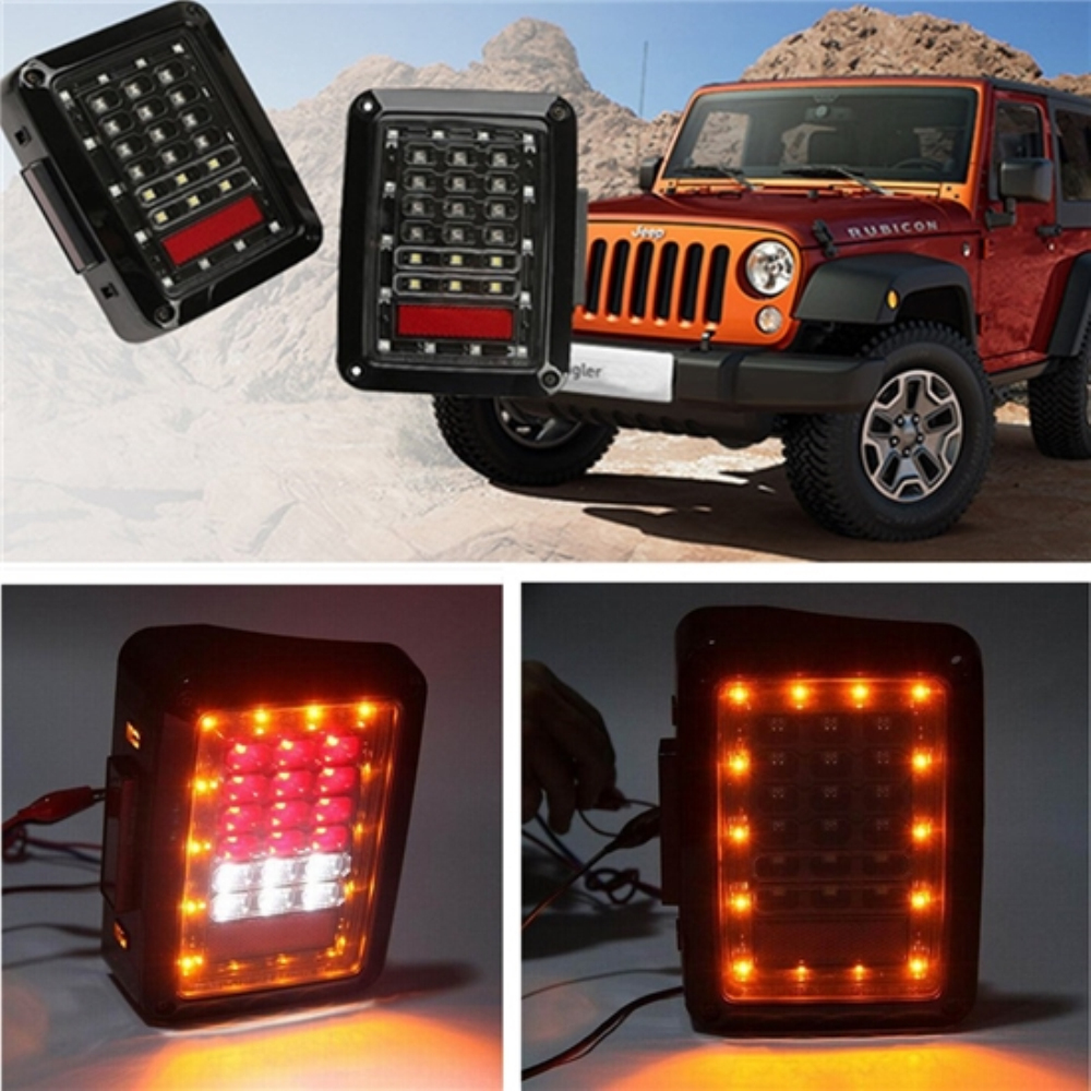 USA/EU LED Tail Lights For JK 2007-2016 Jeep Wrangler with Running Brake Backup Reverse Turning Signal Light Tail Lamp Assembly for jeep wrangler jk 2007 2016 tail light diamond smoke led tail light
