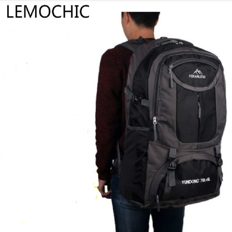 LEMOCHIC 75L new large capacity waterproof sports outdoor backpack Mountaineering Hiking camping male women luggage travel bags mountec large outdoor backpack travel multi purpose climbing backpacks hiking big capacity rucksacks sports bag 80l 36 20 80cm