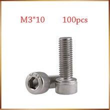 Бесплатная доставка 100 шт./лот Метрическая резьба DIN912 M3x10 мм M3 * 10 мм 304 Нержавеющая сталь Шестигранная головка колпачок болты