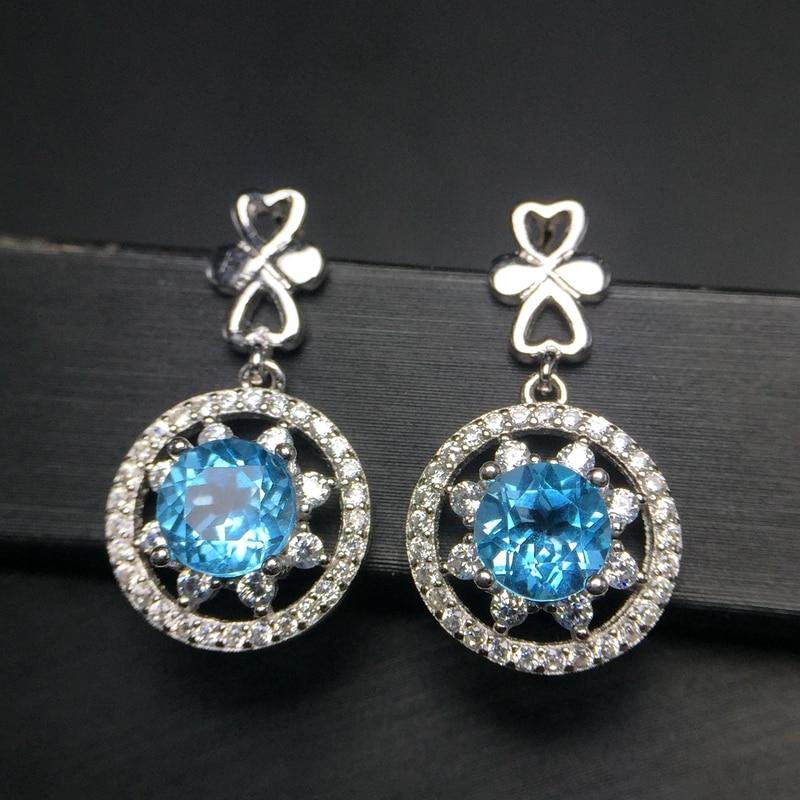 Uloveido Round Blue Topaz Gemstone Stud Earrings for Women 925 Sterling Silver Anniversary Earrings for Women