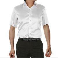 Hoge Kwaliteit mannelijke korte mouwen zijde shirt 2017 merk Zomer mannen shirts Pure kleur leisure business shirts plus size 5XL hot koop