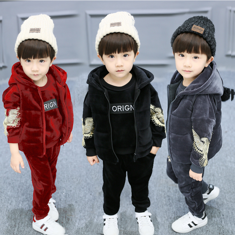 Baby Kids Winter 3 Pcs Set Children's Gold Velvet Clothing Suit Little Boys & Girls Eagle Hooded Vest Coat + Tops + Pants X281 hot 3 pcs 2018 baby kids fall winter clothing set newborn thick cotton padded clothes boys girls hooded vest coat tops pant g107