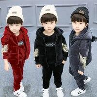 Baby Kids Winter 3 Pcs Set Children's Gold Velvet Clothing Suit Little Boys & Girls Eagle Hooded Vest Coat + Tops + Pants X281