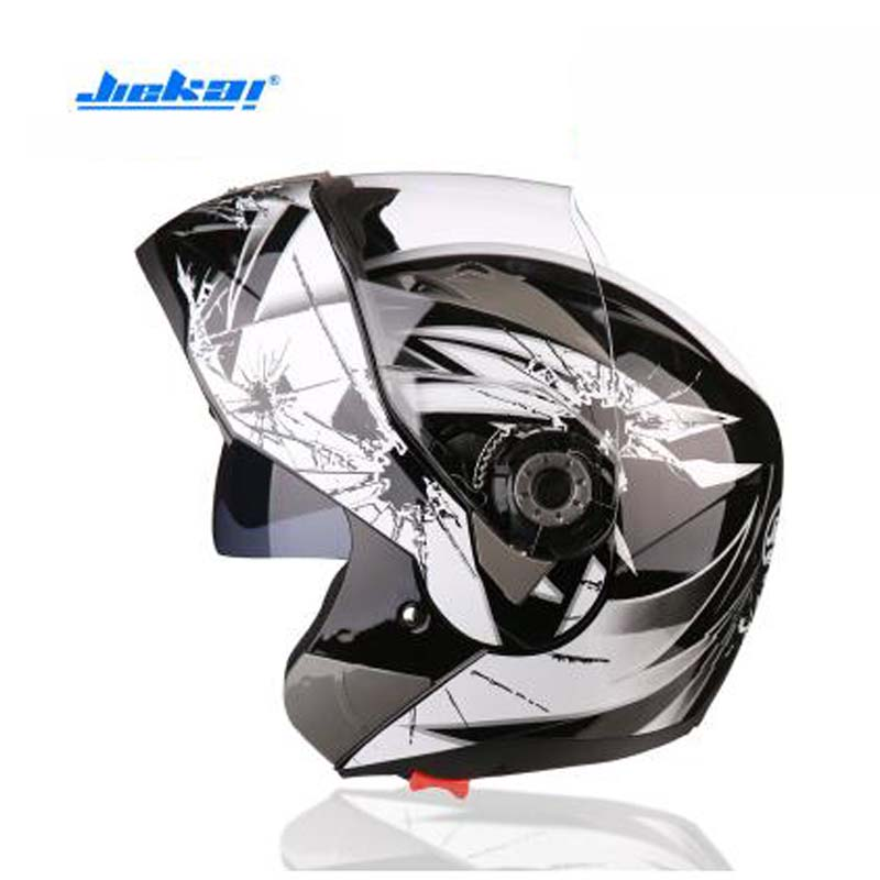 Popular JIEKAI JK105 Double lens Motorcycle helmet ABS Flip Up Helmet Open Face Motorbike helmets have 8 color Size M L XL XXL red green lines double lens motorcycle crash helmet high quality flip up electric motorbike full face motorcycle helmet