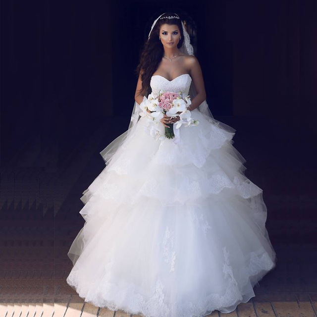 New Arrival Ball Gown Cupcake Wedding Dresses 2017 Sweetheart Off ...