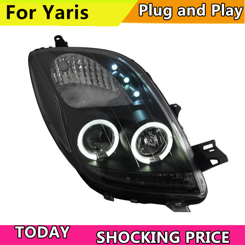 Фар автомобиля для Toyota Yaris светодиодный Ангельские глазки фара 2005 2012 год черный Цвет yaris фары спереди