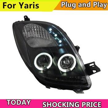 Doxa Автомобильная фара для Toyota Yaris, светодиодный головной фонарь с ангельскими глазами, 2005 2012 год, черные передние фары yaris
