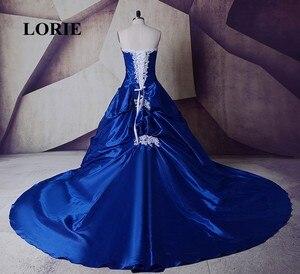 Image 4 - Свадебное платье со шлейфом LORIE, готическое Королевское синее платье с белым кружевом, бальное платье невесты, индивидуальный пошив, высокое качество, реальное фото