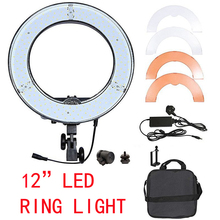 Photography Lighting RL-12 12 180 LED Camera Ring Light Video Photo phone Panel Lamp CRI 83+ Color 5500K Dimmable Studio travor rl 12 12 180 led camera ring light video photo phone panel lamp cri 90 color 5500k dimmable studio photography lighting