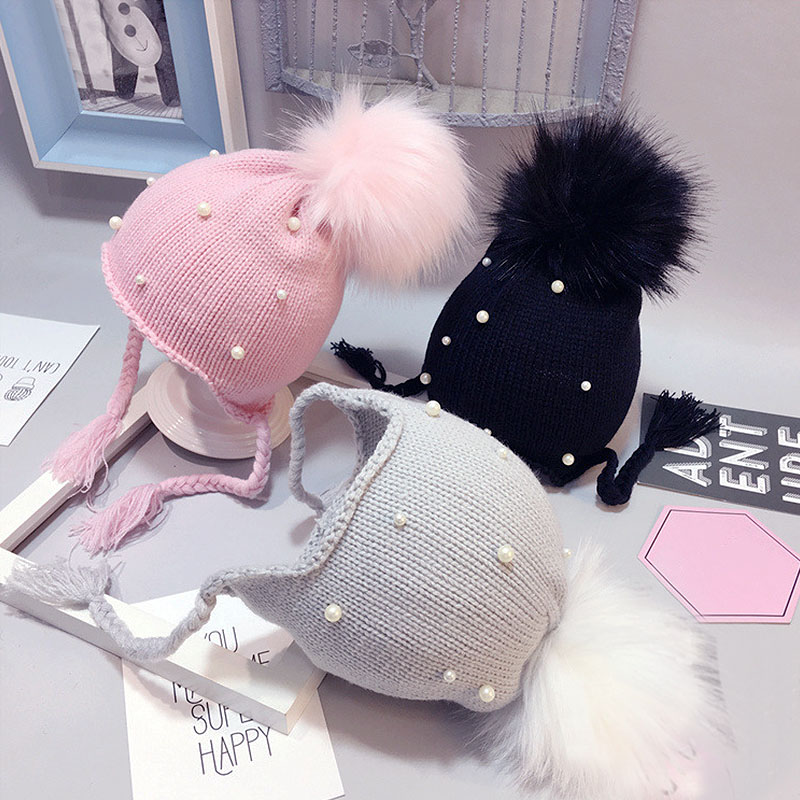 LNRRABC New Boy/Girls Child Winter Hair Ball Earbud Hats Woolen Solid Color Pearl Knitted Ears   Beanie   Fur Pompom Cap