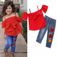 Toddler Girl Fall Clothes Off Shoulder Top + Long Rose Denim Jean 2pcs/Set 1 2 3 4 5 6 Year Bowknot Suit For Girl