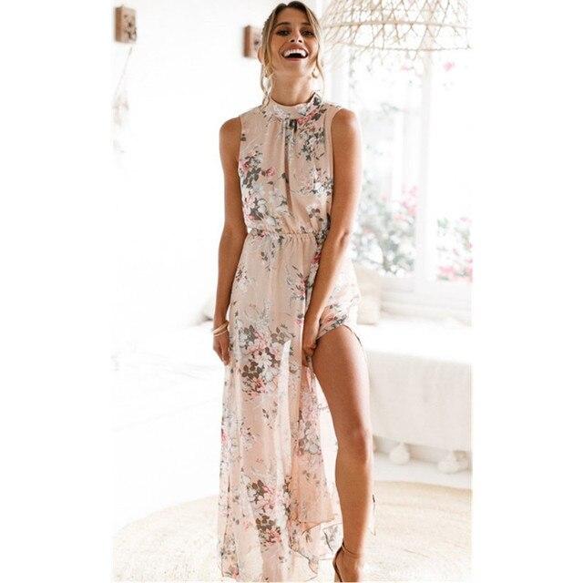 9a6e259d62921 High Quality Women Fashion 2019 Maxi Dress Summer Chiffon Fabric Fashion  Nova Woman Split O Neck Loose Long Casual Dress Summer