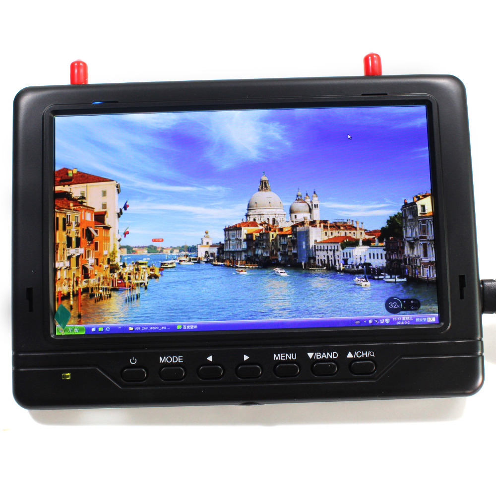 FPV monitor 5.8GHz 32CH 7 LCD 1024x600 HD TFT Monitor Receiver Built-in Battery