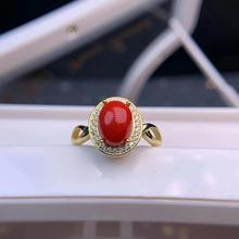 shilovem 925 sterling silver Natural red coral rings fine Jewelry  women trendy open party Christmas gift new dj070931agsh