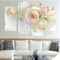 4pcs Print Canvas Wall Art Beautiful Roses Cuadros Decoration Oil Painting Modular Pictures On The Hall
