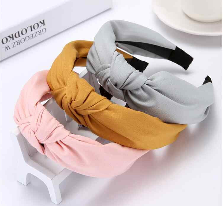 Fashion ladies hoop hair band headband Turban Solid Colors Knotted headband for Women  hoop hair band Headwear 2019 New Arrival