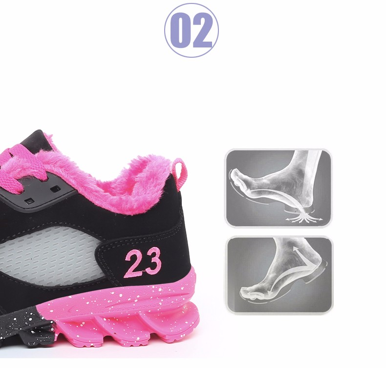 2017 Fashion Winter Women Casual Shoes Plush Warm Sport Low Top Women Shoes Black Pink Breathable Lace Up Woman Trainers YD165 (7)