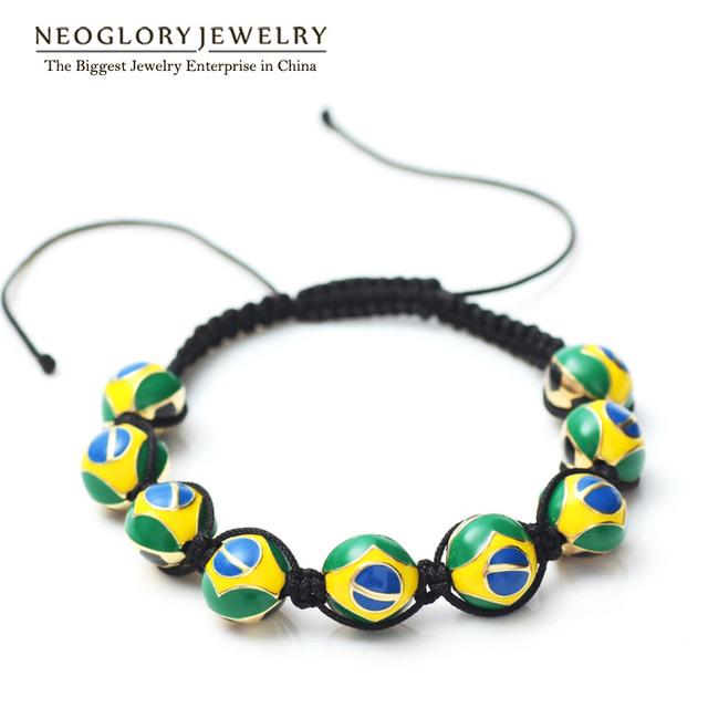 Neoglory Gold Plated Zinc Alloy Rope Brazil Flag Strand Beads Bangles & Bracelets for Women Men 2017 New Sporty Jewelry  CLE
