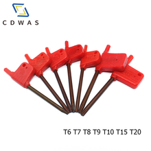 Multifunctional Carbon Steel T6 T7 T8 T9 T10 T15 T20 red flag wrench standard Torx for CNC tool holder Torx screw wrench tool diy tool screw spindle screw folding tool holder locking screw torx tool screw 2pcs