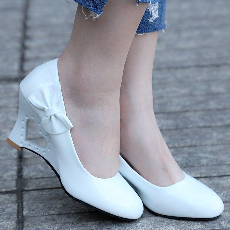 Woman Pumps Shoes Heart-Heels Wedding Womens Strange Ladies Stiletto 35-43 Bowtie Office
