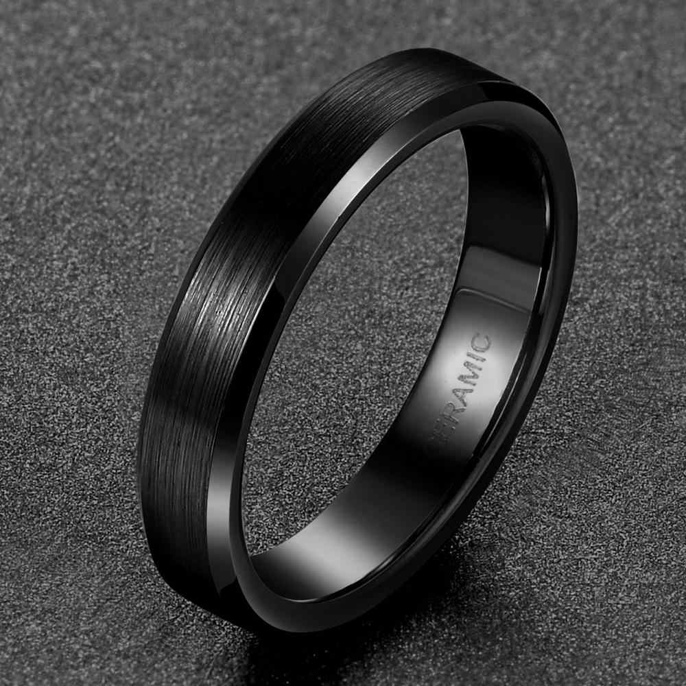 TIGRADE 4/6/8mm czarny pierścień ceramiczny mężczyzn szczotkowany Comfort Fit para Wedding Band pierścionki zaręczynowe dla mężczyzn kobiet rozmiar 4-15 Anel