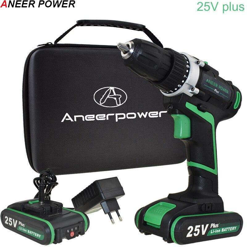 25 V Doppel Speed Akku-bohrschrauber Hand Bohrmaschine Elektrische Schraubendreher Power Werkzeuge Mini Bohrer Bohren Eu Stecker + Werkzeug woven Tasche