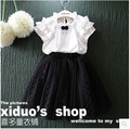 Korean children summer 2016 new girls collar fungus small bow British style fold cotton shirt